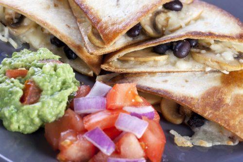 Black Beans & Mushrooms Quesadillas